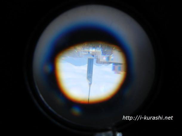 手作り望遠鏡の見え方